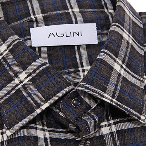 Men Manica Quadretti Aglini Camicie Lunga 8170p Shirt Camicia Uomo Grigio F1HHxZTq