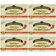 Crown Prince Mildly Spiced Smoked Oysters with Red Chili Pepper 3oz Can (Pack of 6)