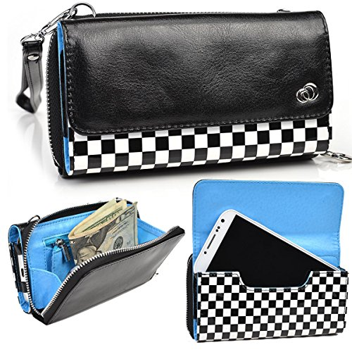 NuVur153; New!!! Perfect Universal Patent Faux Leather Smartphone Wallet Clutch Fits HP Slate S7-4200US|Black Checkered