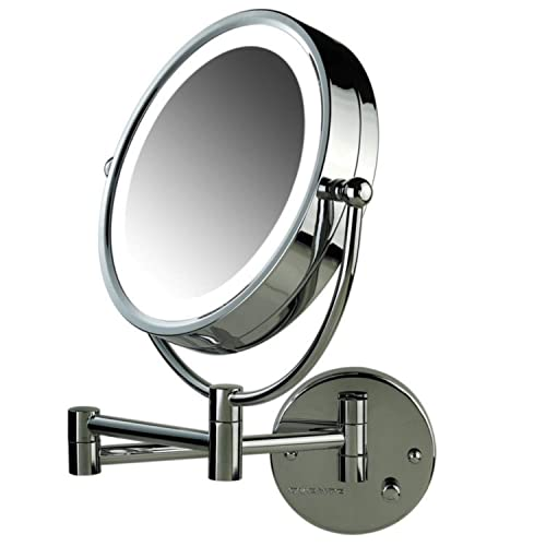 Ovente Lighted Wall Mount Mirror 8.5 Inch Dual Sided 1X 7X Magnification Hardwired Electrical Connection Natural White LED Lights 9 Watts Polished Chrome MPWD3185CH1X7X