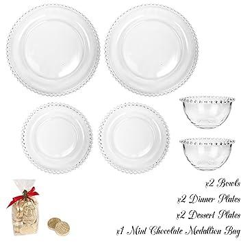 Dos ajustes de lugar de Bella Perle plato llano lado/plato de postre y desayuno