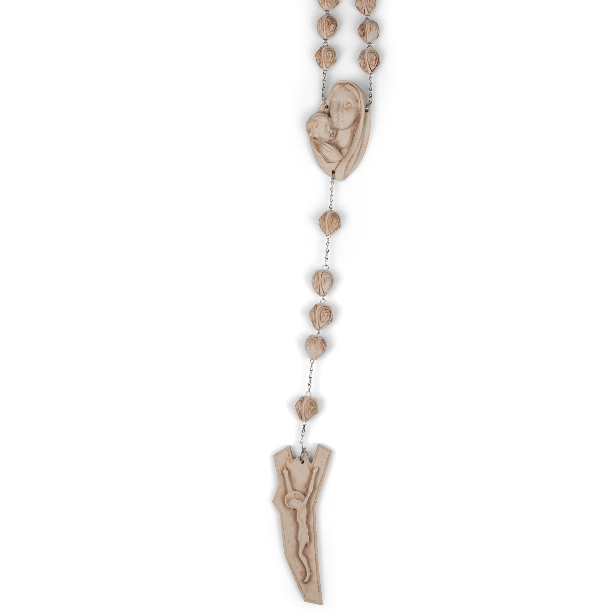 Virgin Mary and Jesus Carved Beads Design 65 Inch Alabasterite Decorative Wall Rosary by Roman