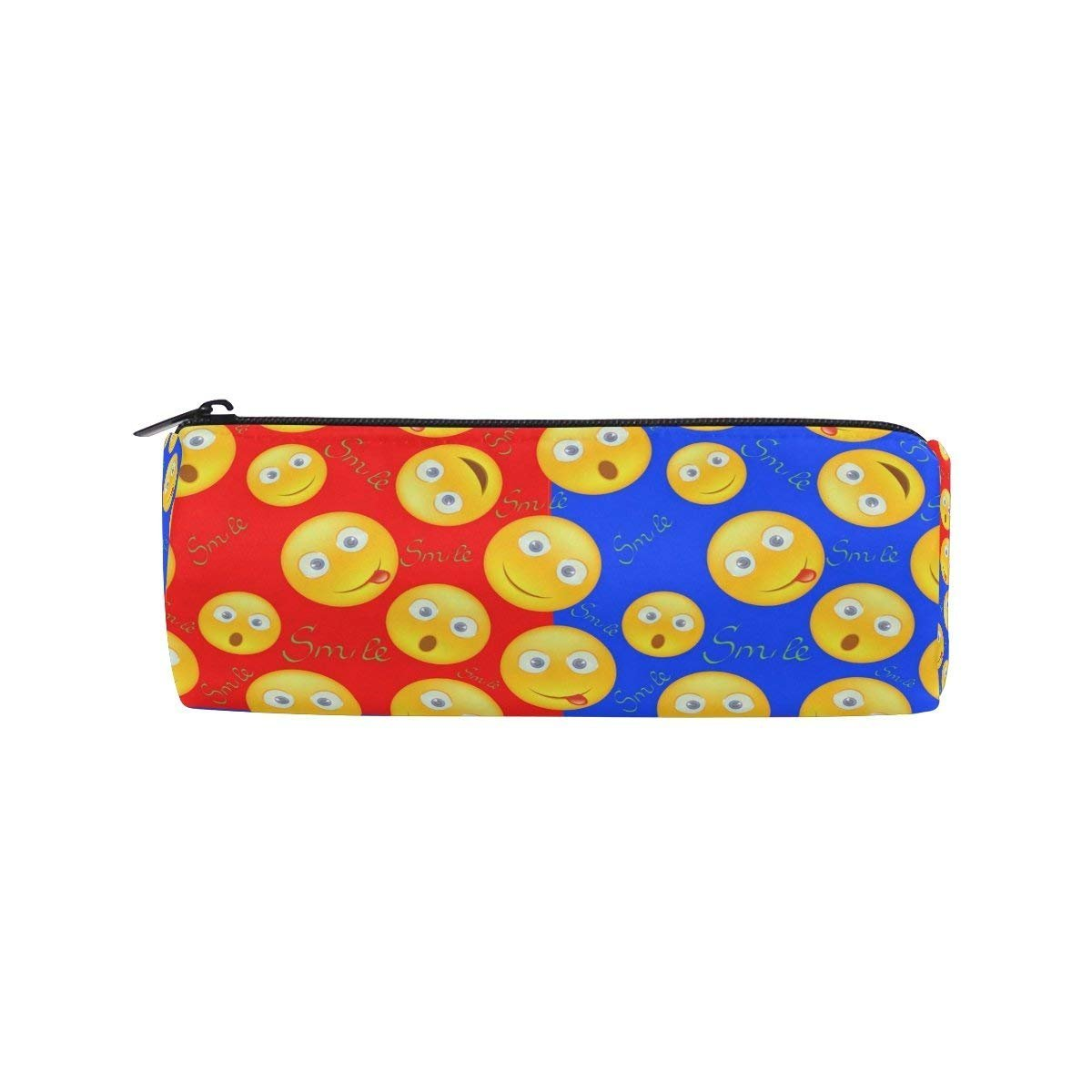 Amazon com pencil case cheerful smile emoji emotions canvas big school stationery holder cosmetic bag with zip art colored pen pouch for kids girls boy 1
