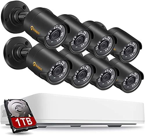 Anlapus 1080p Home Security Camera System with Hard Drive 1TB, 8 Channel 1080N CCTV DVR Recorder with 8pcs 1080p Surveillance Bullet Cameras