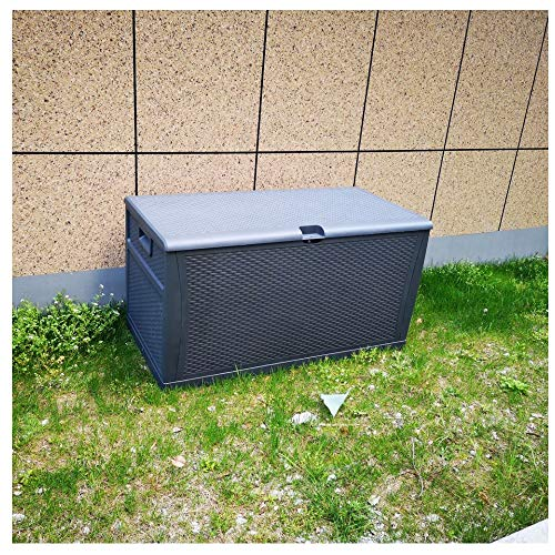 Leisurelife Plastic Deck Box Wicker 120 Gallon, Gray – Waterproof Storage Container Outdoor Patio Garden Furniture