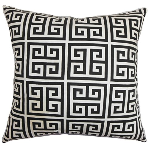 The Pillow Collection EURO-PP-TOWERS-BLACKWHITE-C100 Paros Greek Key Bedding Sham, Black White, European/26 x 26
