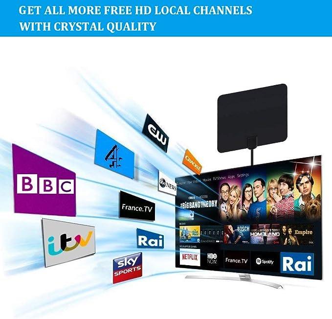 Tangcison antena de TV, antena de televisión para interiores con rango de más de 50 millas, antena de TV delgada de papel, soporta canales 4K 1080P HD/VHF/UHF de visión libre para la