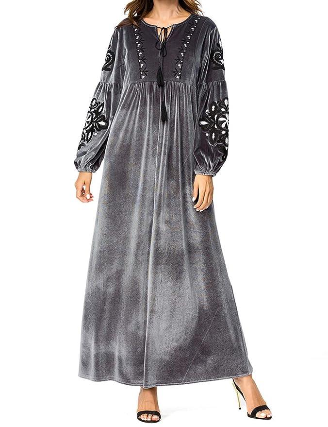 Qianliniuinc Inverno Ricamo Lunga Maxi Dress-Islamico Musulmano Donne  Casuale Abiti Vestito Lungo Ramadan Preghiera Costume  Amazon.it   Abbigliamento 4287de3c74a