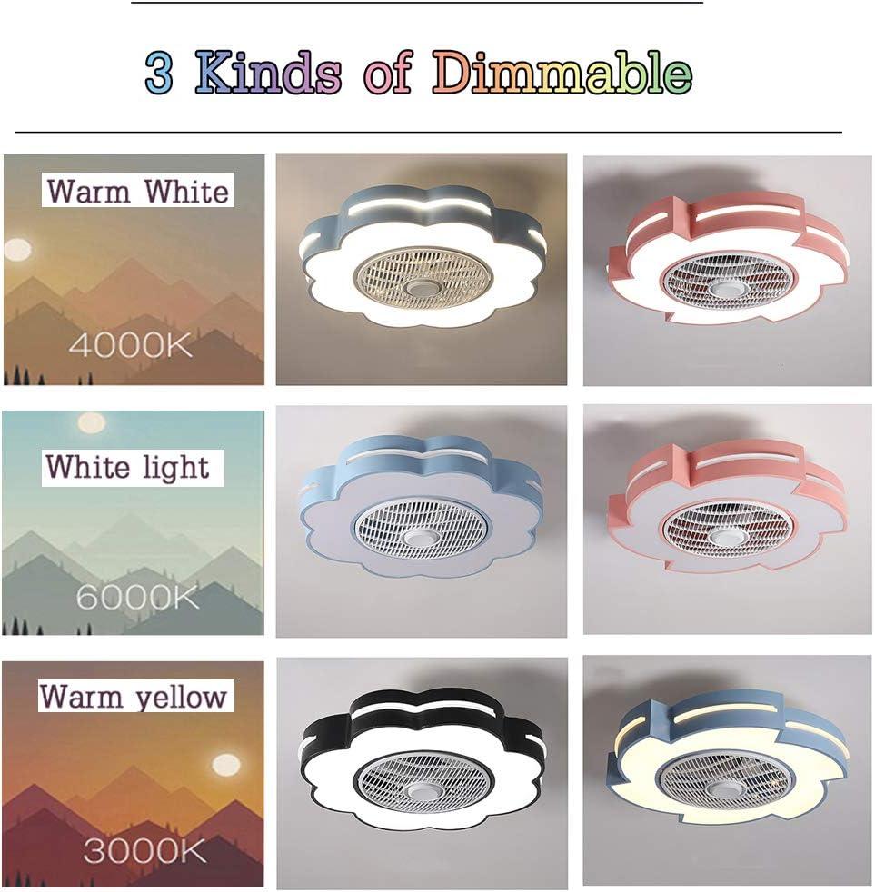 3 Fl/ügeln CDDQ Energiespar Deckenventilator mit Dimmbarer LED Beleuchtung und Fernbedienung,Unsichtbare,Super Leise,Rosa,Blau,Wei/ß,Schwarz
