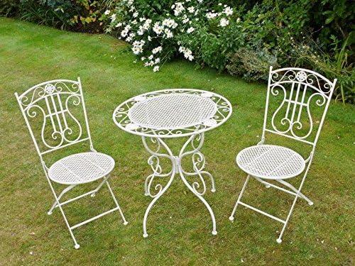 S/3 juego de hierro forjado Patio jardín plegable de mesa y sillas juego de muebles de jardín: Amazon.es: Jardín