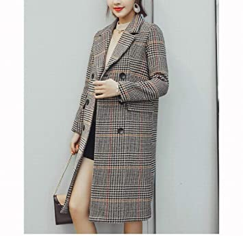 Amazon.com : PLLP Plaid Woolen Coat, Female Winter Long New Thick Coat Coat, Loose Wild Houndstooth Woolen Coat : Sports & Outdoors