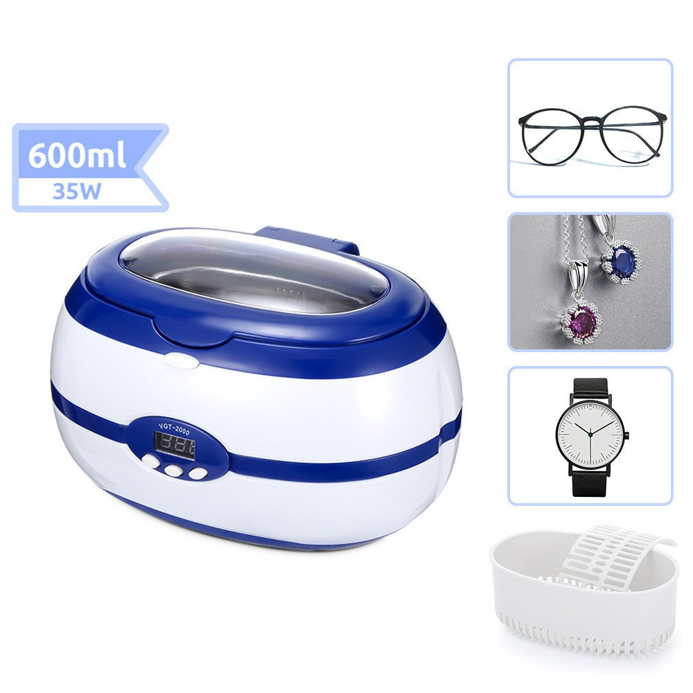 Langstar Ultrasonic Cleaner Digital Jewelry Cleaner Portable Cleaning Machine for Eyeglasses, Rings, Dentures with Degassing Function