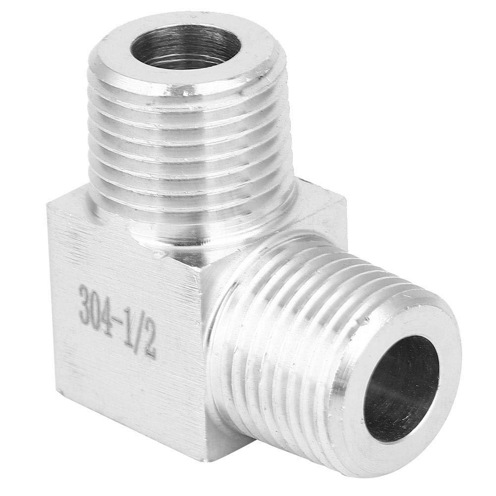 1//2 Yanmis Conector de Curva BSPT Macho a Macho 50psi Codo de 90 Grados Conector de Montaje de tuber/ía de Acero Inoxidable 304