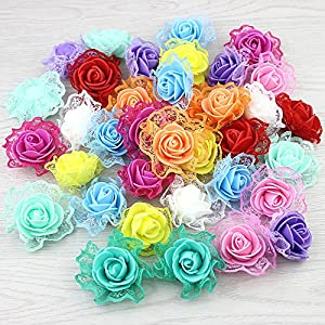 FLOWER 30pieces Foam Lace Rose Artificial for Wedding Decoration DIY Decorative Wreath Fake 80