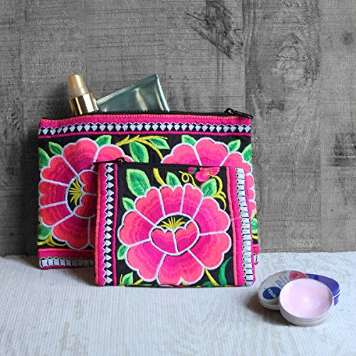 Thick Designer Stitched Kutch Zipper Pouch Set of 2 - Small & Large (Two Large Zipper)
