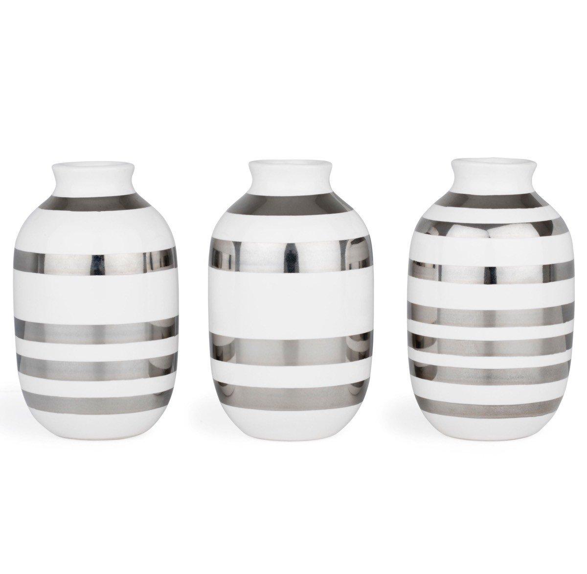 Kähler - Omaggio - Vase     Blaumenvase - Miniatur - 3er-Set - silber - Höhe 8 cm B01M0DYZTA Vasen e37e06