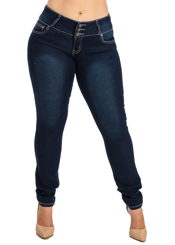 PLUS SIZE Mid Rise Dark Denim Levanta Cola Skinny Jeans 10292K