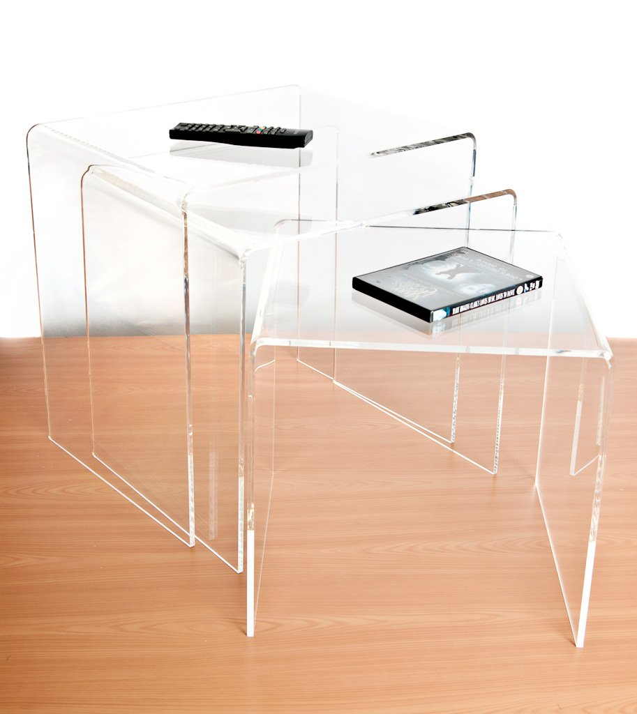 Clear Acrylic Nest Of Tables Set Of Amazoncouk Kitchen Home - Clear nesting tables
