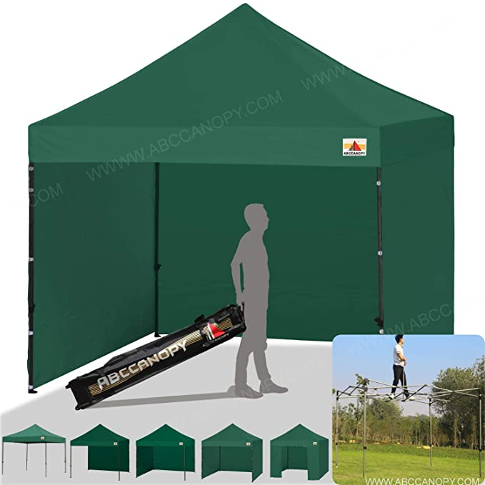 bf736cc69eb85 ABCCANOPY Gazebo 3x3m Fully Waterproof Heavy Duty Pop Up Gazebo With 4Pcs  Walls + Carry Bag With Wheels(forest green)  Amazon.co.uk  Garden   Outdoors