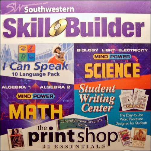 (1 X Southwestern Skill Builder Software Pack: High School Math, High School Science, I Can Speak 10 Language Pack, Student Writing Center, The Printshop Essentials by