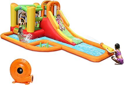 Including Carry Bag 780W Air Blower Climbing Wall Kids Water Park Basketball Rim Costzon Inflatable Pool Bouncer Hose Repair Kit Tunnel Crocodile Themed Bounce House w//Two Water Slides