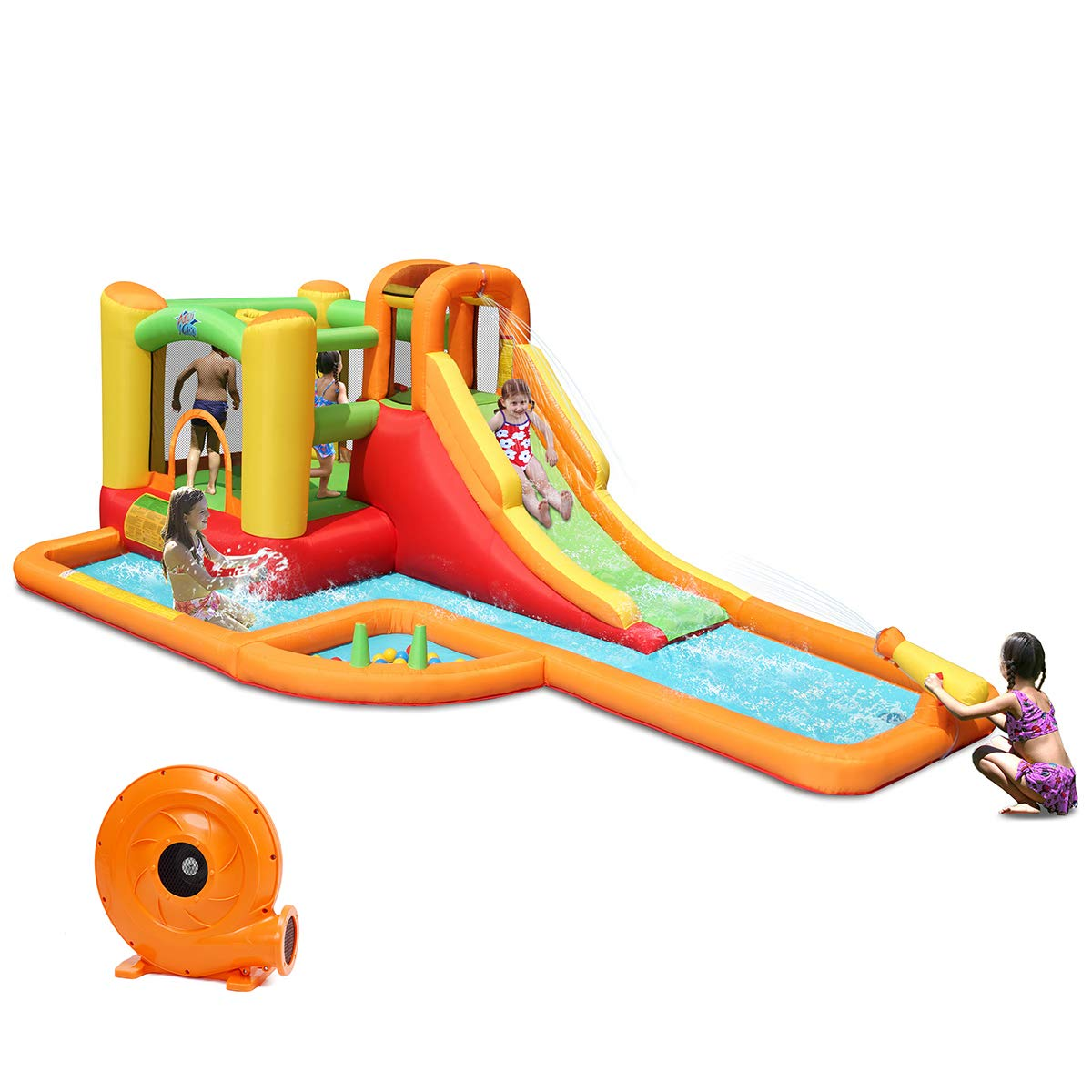 Costzon Inflatable Slide Bouncer, Bounce House with Climbing Wall, Jump Area, Basketball Hoop, Splash Pool, Including Oxford Carry Bag, Repairing Kit, Stakes, Ocean Balls, Water Pipe, 780W Air Blower