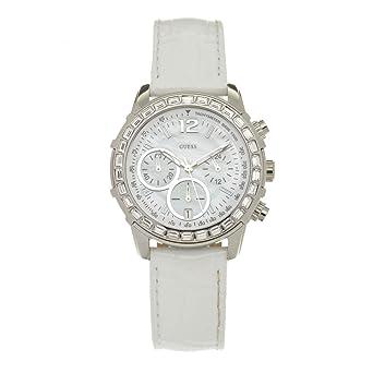61860a6e12 Guess - W0017L1 - Montre Femme - Quartz Analogique - Cadran Nacre - Bracelet  Cuir Blanc