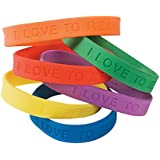 """24 ~ I Love to Read Rubber Bracelets ~ Approx. 6"""" ~ Assorted Colors ~ New"""