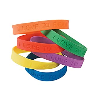 24 I Love To Read Rubber Bracelets - Novelty Jewellery & Bracelets
