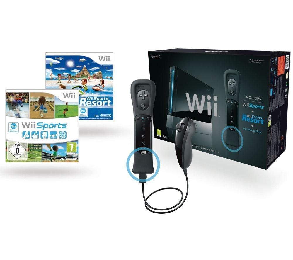 Spielkonsole Wii black + Spiel Wii Sport + Spiel Wii Sport Resort + 1 Fernbedienung Wii Plus black + 1 Nunchuk black
