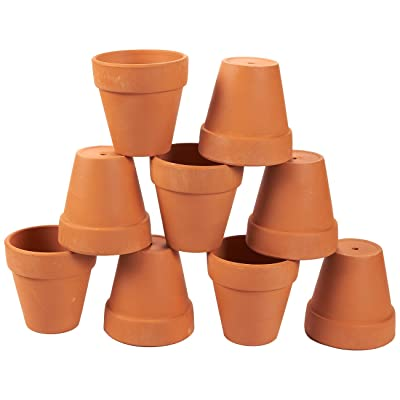 Juvale 9 Pack Terra Cotta Pots with Drainage Holes - 3.5 inches Mini Clay Flower Pots Perfect for Succulent Display, Cactus Nursery Planter, Indoor and Outdoor Plant: Garden & Outdoor