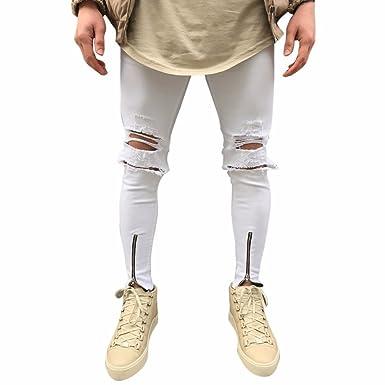 Harrystore Pantalones Vaqueros Rotos Hombre Slim Fit con Parches Y Cremallera