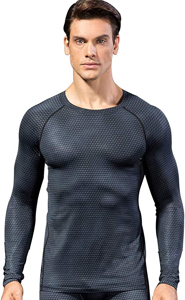 Queerier Mens Compression Shirts Long-Sleeve T-Shirt Breathable Base Layers Gym Workout Running Shirts for Men
