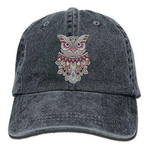 Adult Cowboy Cap Hat Owl Coloring Adjustable Cotton Denim Sunscreen Fishing Outdoors Retro Visor -