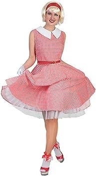 50 años Disfraz (Tallas 36 – 46 Vestido Rojo y Blanco a Cuadros ...