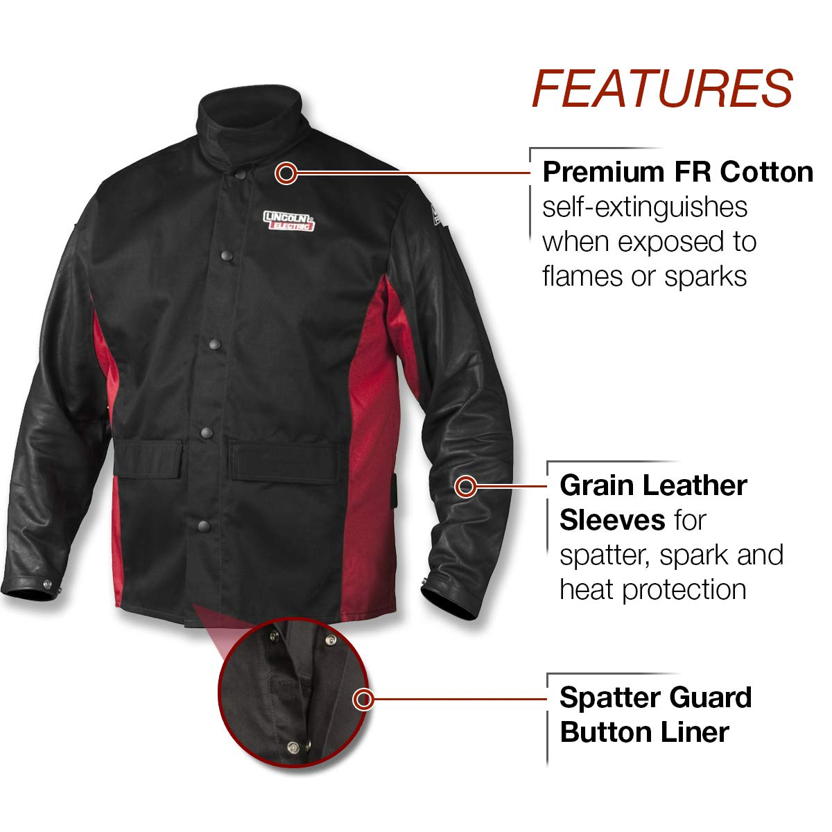 Lincoln Electric K2987-L Shadow Grain - Chaqueta de soldar, grande, color negro y rojo: Amazon.es: Amazon.es