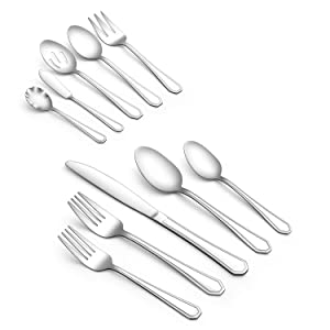 Silverware Set, Gineoo 25-Piece Flatware Sets with Serving Utensils, Stainless Steel Square Flatware Cutlery Set for 4, Eating Utensils Tableware Set, Mirror Finish