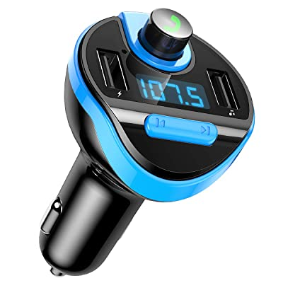 Criacr [Upgraded Version] Bluetooth FM Transmitter for Car, Wireless FM Radio Transmitter Adapter Car Kit, Dual USB Charging Ports, Hands Free Calling, U Disk, TF Card MP3 Music Player(Light Blue): Electronics