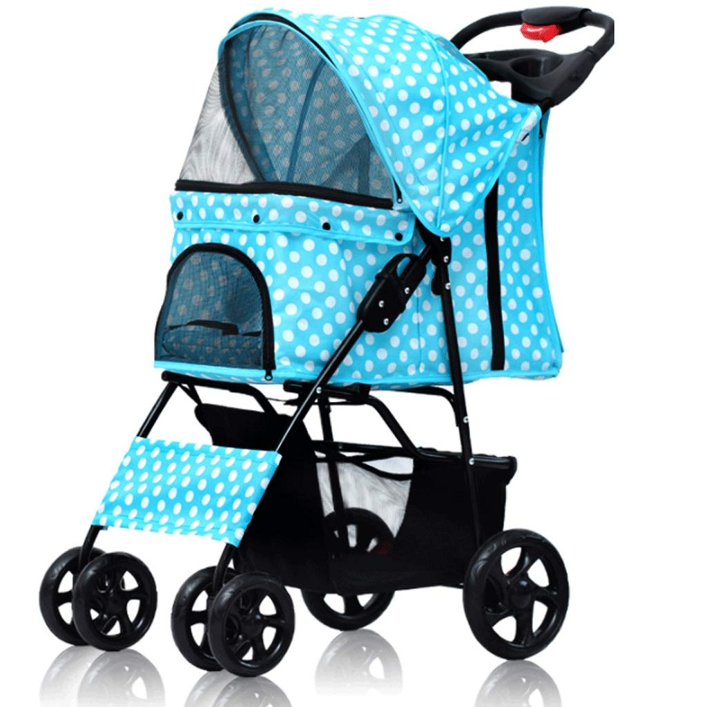 G HAOCAI Pet Stroller With Wheel Folding Multi-function Household Outdoor Pet Bracket Cat And Dog Universal Four Seasons Sports Car81x38x18.5cm (color   G)