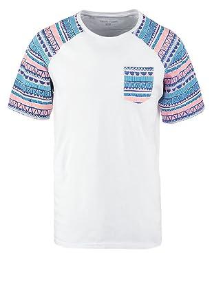 2625f514de28 YOURTURN T-Shirt Herren Schwarz-Weiß o. Grau-Blau mit Muster –  Rundhals-Ausschnitt Tshirt mit Aufdruck – Baumwolle Kurzarmshirt mit  Brusttasche
