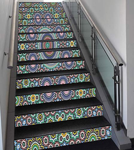 Stair Stickers Wall Stickers,13 PCS Self-Adhesive,Moroccan Decor,Classic Mosaic Design Striped Centered Detailed Craft Work Tile Antiquity Illustration,Stair Riser Decal for Living Room, Hall, Kids ()