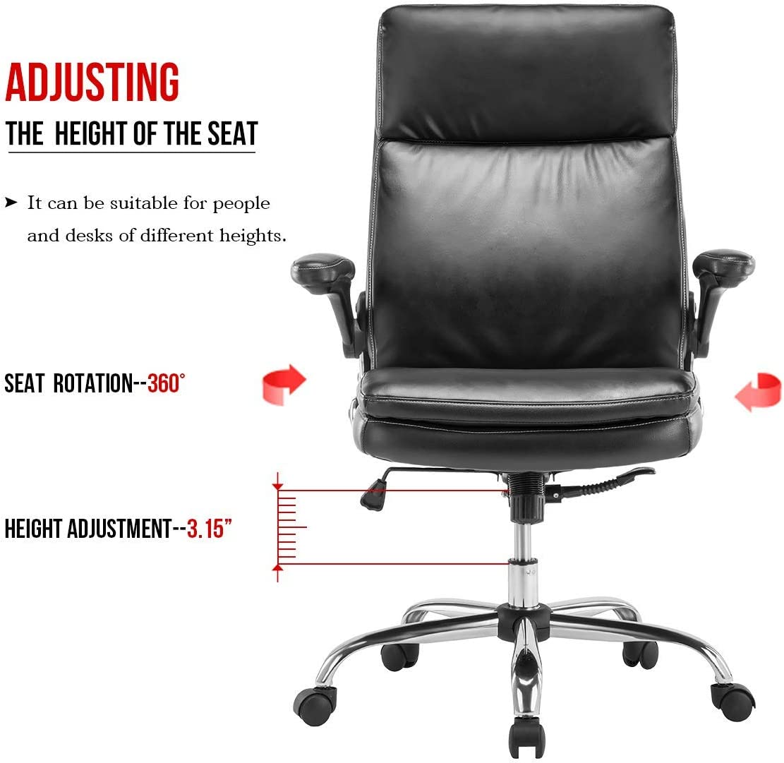 Black KERMS High Back Office Chair PU Leather Executive Desk Chair with Padded Armrests,Adjustable Ergonomic Swivel Task Chair with Lumbar Support