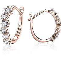 Asmiss Hoop Earrings with Cubic Zirconia Huggie Stud for Women & Girls's Standard Ear Lobe,Helix,Rook,Snug Forward Helix…