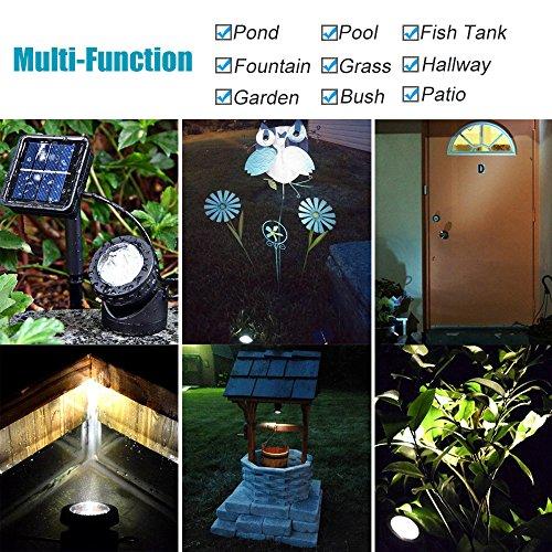 Heansun Solar LED Landscape Spotlight, Pond Light Underwater Light Auto On/Off for Outdoor Garden Courtyard Lawn Fish Tank Pool Landscape Lighting, Adjustable Lighting Angle