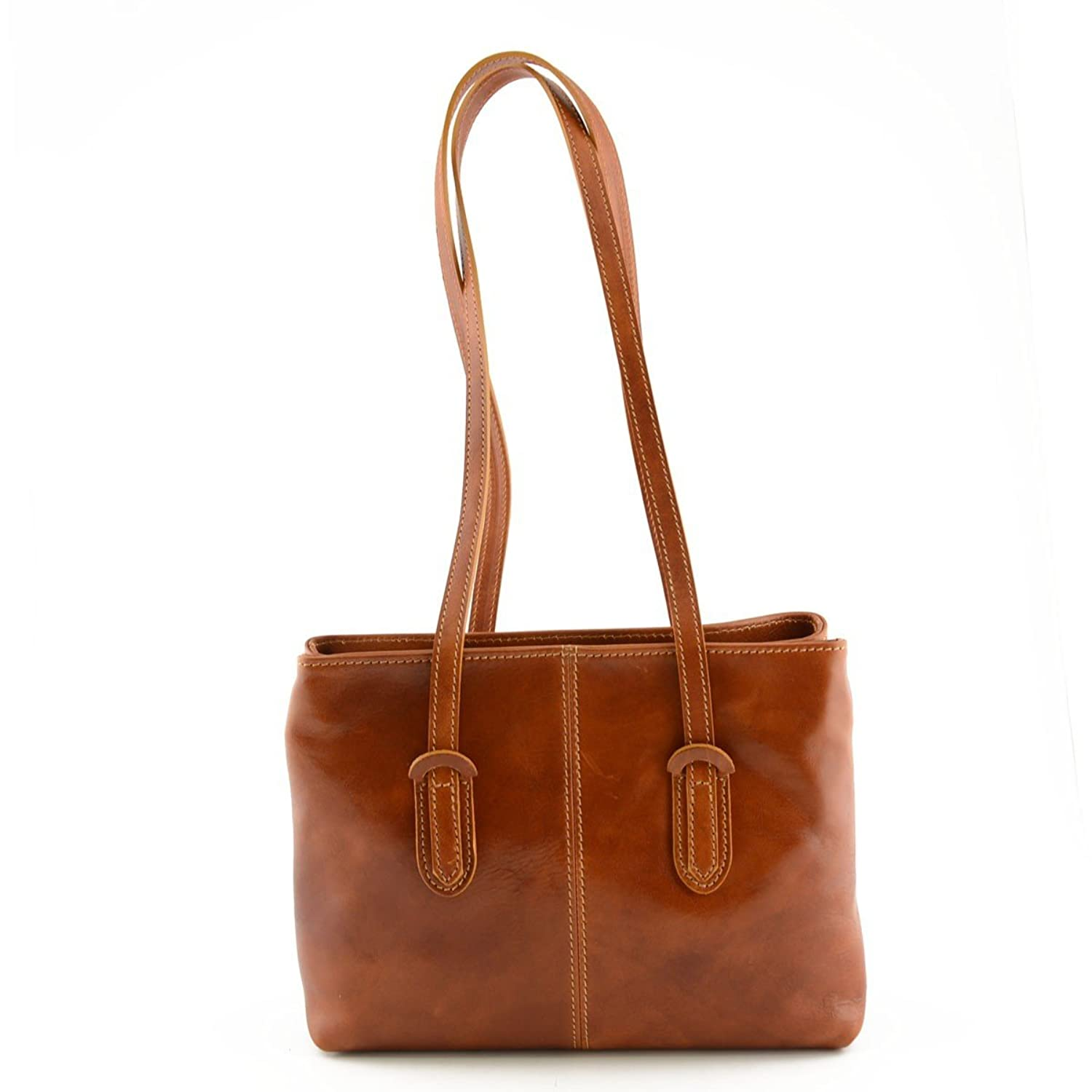 Genuine Leather Shoulder Bag For Woman With Double Zipped Compartment Color Cognac