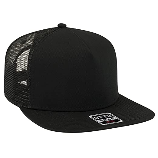 4da9c60a58d OTTO Square Flat Visor SNAP 5 Panel Mesh Back Trucker Snapback Hat - Black