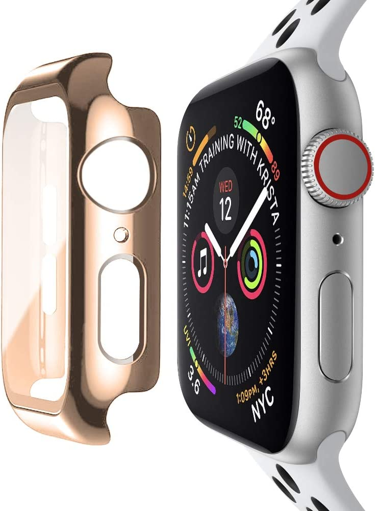 baozai Compatible with Apple Watch 42mm Case with Built-in Tempered Glass Screen Protector, Full Coverage Hard iWatch Case for Series 3/2/1 (Rose Gold, 42mm Series 3/2/1)