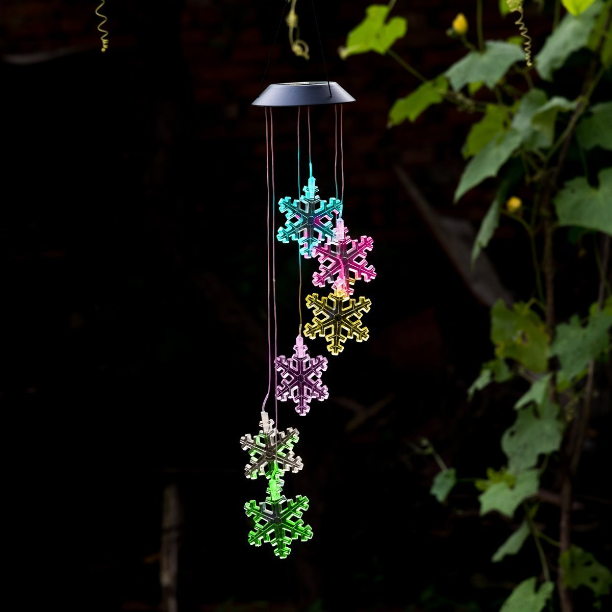 Wishshopping Color-Changing Wind Chime, Solar Power Wind Chimes Lights Hanging Lamp Night Light For Home, Party, Festival Days, Garden,Christmas with Spinning Hook