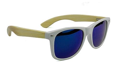 Occhiali da sole vari modelli colorate moda fashion mare unisex lenti MWS AHEAD (BAMBOO SELFIE BIANCO)