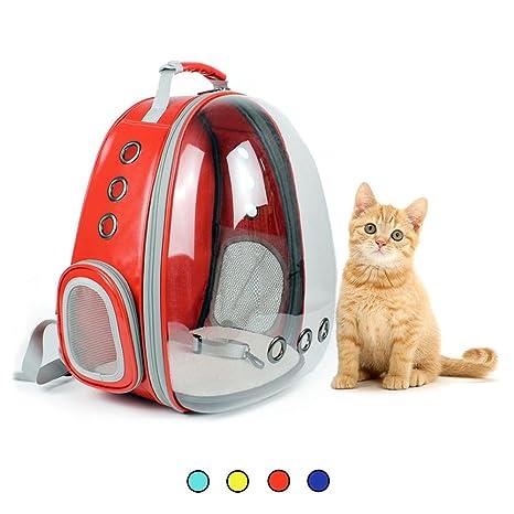 Amakunft Carrier de Viaje Transparente para Mascotas, Transpirable, Bolsa de Cápsulas para Gatos,